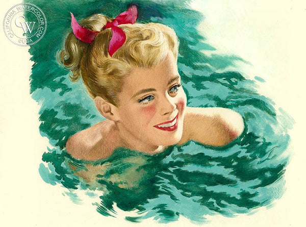 Swimming, California art by Preston Blair. HD giclee art prints for sale at CaliforniaWatercolor.com - original California paintings, & premium giclee prints for sale