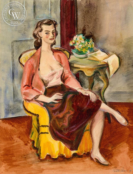 Woman Sitting, 1944, California art by Preston Blair. HD giclee art prints for sale at CaliforniaWatercolor.com - original California paintings, & premium giclee prints for sale