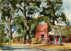 Country Stop, California watercolor art by Ralph Baker. HD giclee art prints for sale at CaliforniaWatercolor.com - original California paintings, & premium giclee prints for sale