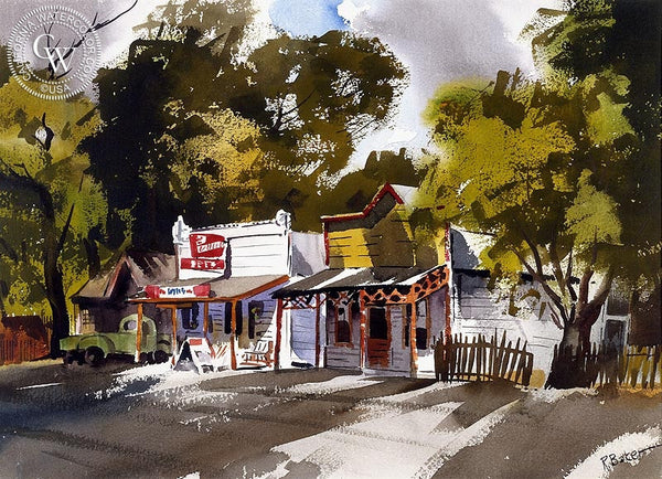 Country Store, California art by Ralph Baker. HD giclee art prints for sale at CaliforniaWatercolor.com - original California paintings, & premium giclee prints for sale
