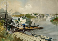 Repairing the Pier, California art by Ralph Baker. HD giclee art prints for sale at CaliforniaWatercolor.com - original California paintings, & premium giclee prints for sale