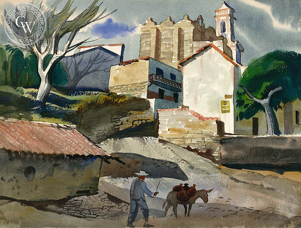 Back Street Taxco, California art by Ralph Hulett. HD giclee art prints for sale at CaliforniaWatercolor.com - original California paintings, & premium giclee prints for sale
