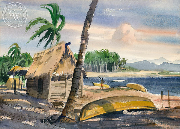 Beach at Puerto Vallarta, California art by Ralph Hulett. HD giclee art prints for sale at CaliforniaWatercolor.com - original California paintings, & premium giclee prints for sale
