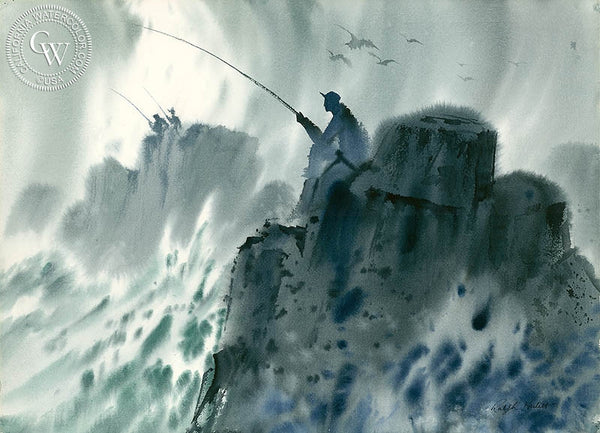 The Fisherman, California art by Ralph Hulett. HD giclee art prints for sale at CaliforniaWatercolor.com - original California paintings, & premium giclee prints for sale