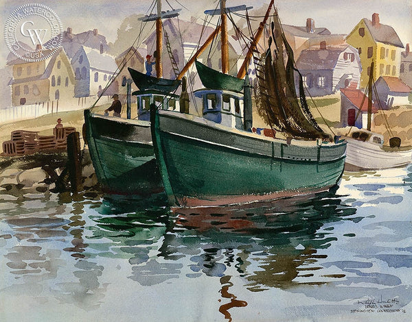 Longs Wharf, 1946, California art by Ralph Hulett. HD giclee art prints for sale at CaliforniaWatercolor.com - original California paintings, & premium giclee prints for sale