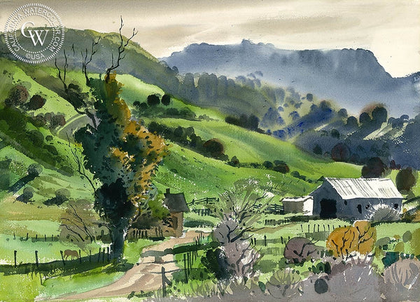 Spring Hills Near Cambria, California art by Ralph Hulett. HD giclee art prints for sale at CaliforniaWatercolor.com - original California paintings, & premium giclee prints for sale