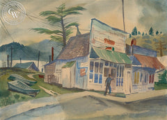 Tavern in the Town, California, California art by Ralph Hulett. HD giclee art prints for sale at CaliforniaWatercolor.com - original California paintings, & premium giclee prints for sale