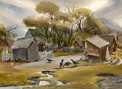 Turkey Farm, 1947, California art by Ralph Hulett. HD giclee art prints for sale at CaliforniaWatercolor.com - original California paintings, & premium giclee prints for sale