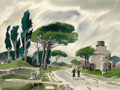 Via Appia, California art by Ralph Hulett. HD giclee art prints for sale at CaliforniaWatercolor.com - original California paintings, & premium giclee prints for sale