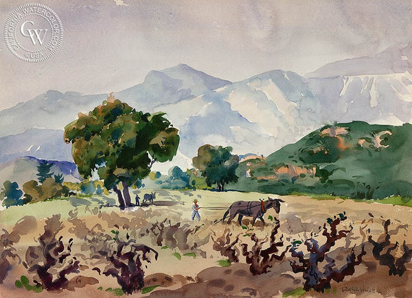 View of the Grape Vineyards, 1944, California art by Ralph Hulett. HD giclee art prints for sale at CaliforniaWatercolor.com - original California paintings, & premium giclee prints for sale