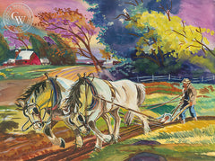 Plowing, California art by Ray Wilson. HD giclee art prints for sale at CaliforniaWatercolor.com - original California paintings, & premium giclee prints for sale