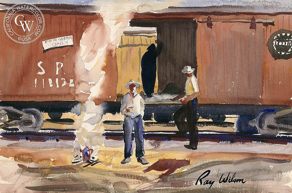 Southern Pacific Railroad, California art by Ray Wilson. HD giclee art prints for sale at CaliforniaWatercolor.com - original California paintings, & premium giclee prints for sale
