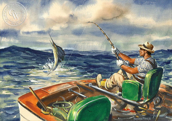 Sport Fishing, California art by Raymon Price. HD giclee art prints for sale at CaliforniaWatercolor.com - original California paintings, & premium giclee prints for sale