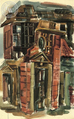 Doorway to Ruin, 1957, California art by Raymond Cuevas. HD giclee art prints for sale at CaliforniaWatercolor.com - original California paintings, & premium giclee prints for sale