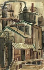 Factory, 1959, California art by Raymond Cuevas. HD giclee art prints for sale at CaliforniaWatercolor.com - original California paintings, & premium giclee prints for sale