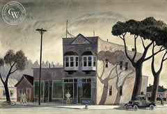 A.R. Graham Groceries, c. 1930's, California art by Reginald Johnson. HD giclee art prints for sale at CaliforniaWatercolor.com - original California paintings, & premium giclee prints for sale
