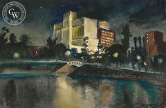 A View of Park Plaza Hotel from MacArthur Park, c. 1930's, California art by Retta Scott. HD giclee art prints for sale at CaliforniaWatercolor.com - original California paintings, & premium giclee prints for sale