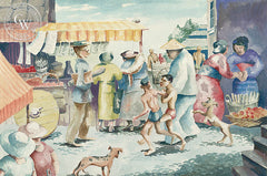 Chinatown, 1934, California art by Retta Scott. HD giclee art prints for sale at CaliforniaWatercolor.com - original California paintings, & premium giclee prints for sale