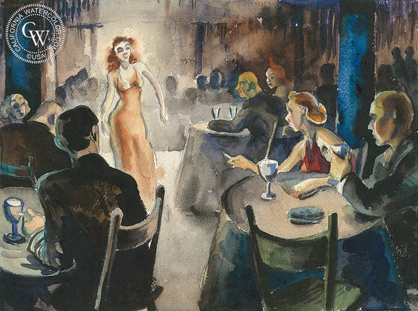 Speakeasy, c. 1930's, California art by Retta Scott. HD giclee art prints for sale at CaliforniaWatercolor.com - original California paintings, & premium giclee prints for sale