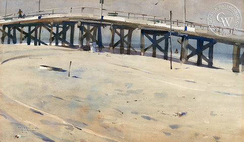 Balboa Pier, 1961, California art by Rex Brandt. HD giclee art prints for sale at CaliforniaWatercolor.com - original California paintings, & premium giclee prints for sale