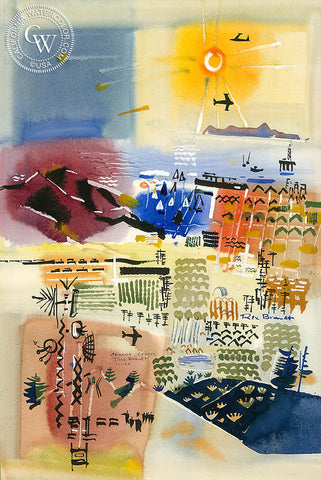 Orange County, 1968, California art by Rex Brandt. HD giclee art prints for sale at CaliforniaWatercolor.com - original California paintings, & premium giclee prints for sale