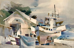 At Monterey, 1977, California art by Rex Brandt. HD giclee art prints for sale at CaliforniaWatercolor.com - original California paintings, & premium giclee prints for sale