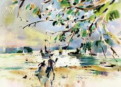 August at South Beach, California art by Rex Brandt. HD giclee art prints for sale at CaliforniaWatercolor.com - original California paintings, & premium giclee prints for sale