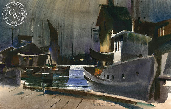 Cannery Moonlight, Newport, 1967, California art by Rex Brandt. HD giclee art prints for sale at CaliforniaWatercolor.com - original California paintings, & premium giclee prints for sale