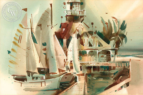 Coronado Sails, 1969, California art by Rex Brandt. HD giclee art prints for sale at CaliforniaWatercolor.com - original California paintings, & premium giclee prints for sale