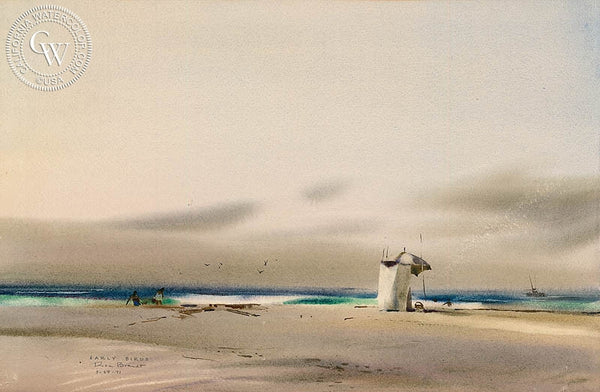 Early Birds, 1971, California art by Rex Brandt. HD giclee art prints for sale at CaliforniaWatercolor.com - original California paintings, & premium giclee prints for sale