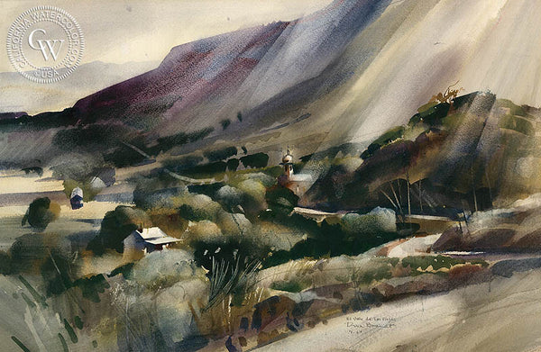 El Valle de Las Viejas, 1964, California art by Rex Brandt. HD giclee art prints for sale at CaliforniaWatercolor.com - original California paintings, & premium giclee prints for sale