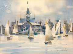 Fog Coming, Balboa, 1980, California art by Rex Brandt. HD giclee art prints for sale at CaliforniaWatercolor.com - original California paintings, & premium giclee prints for sale
