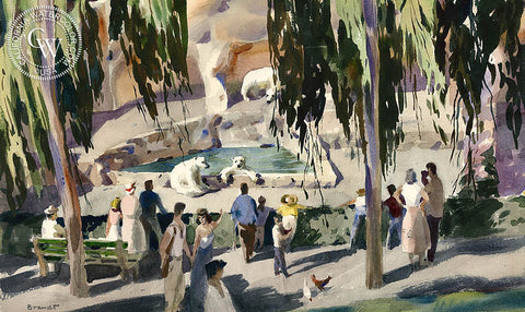 Grizzly Bear Grotto in F Canyon at the Zoo in San Diego, 1953, California art by Rex Brandt. HD giclee art prints for sale at CaliforniaWatercolor.com - original California paintings, & premium giclee prints for sale