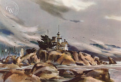 Harbor Sentinel, 1973, California art by Rex Brandt. HD giclee art prints for sale at CaliforniaWatercolor.com - original California paintings, & premium giclee prints for sale