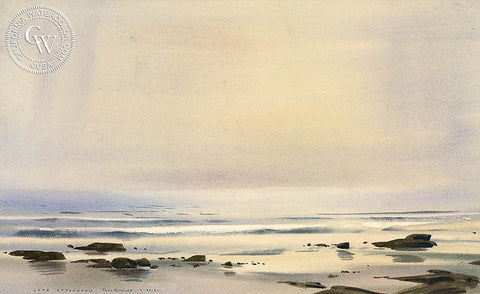 Late Afternoon, 1961, California watercolor art by Rex Brandt. HD giclee art prints for sale at CaliforniaWatercolor.com - original California paintings, & premium giclee prints for sale