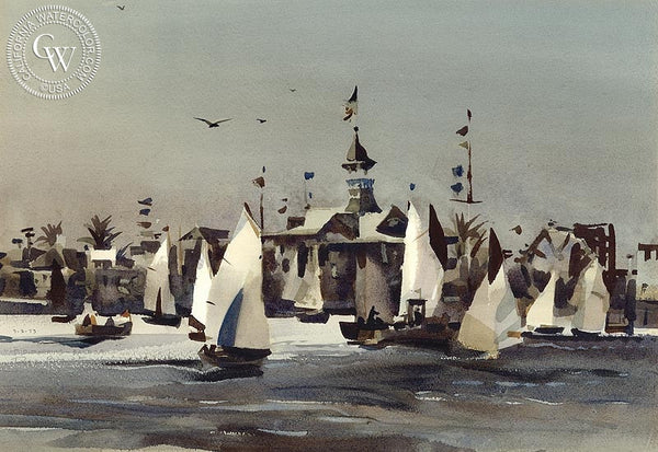 Mid Morning Balboa, 1973, California art by Rex Brandt. HD giclee art prints for sale at CaliforniaWatercolor.com - original California paintings, & premium giclee prints for sale