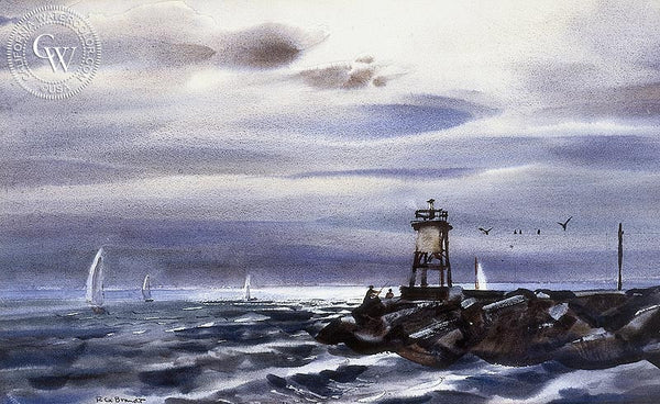 Newport Jetty, California art by Rex Brandt. HD giclee art prints for sale at CaliforniaWatercolor.com - original California paintings, & premium giclee prints for sale