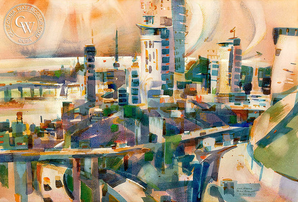 San Diego, 1970, California art by Rex Brandt. HD giclee art prints for sale at CaliforniaWatercolor.com - original California paintings, & premium giclee prints for sale