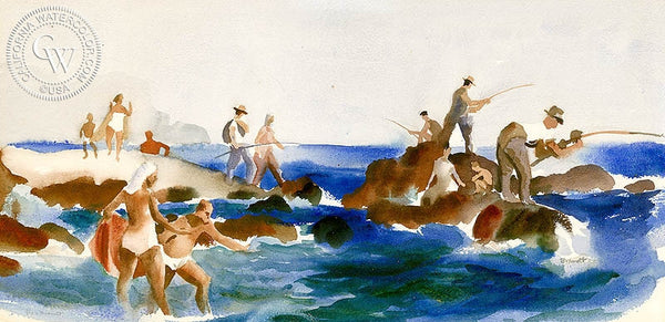 The Fishermen, California art by Rex Brandt. HD giclee art prints for sale at CaliforniaWatercolor.com - original California paintings, & premium giclee prints for sale