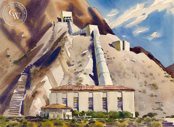Hayfield Pumping Station, California, 1953, California art by Rex Brandt. HD giclee art prints for sale at CaliforniaWatercolor.com - original California paintings, & premium giclee prints for sale