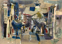 Balboa, 1958, California art by Rex Brandt. HD giclee art prints for sale at CaliforniaWatercolor.com - original California paintings, & premium giclee prints for sale