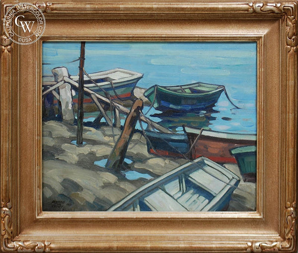 Richmond Kelsey - Boats, 1930, an original California oil painting for sale, original California art for sale - CaliforniaWatercolor.com