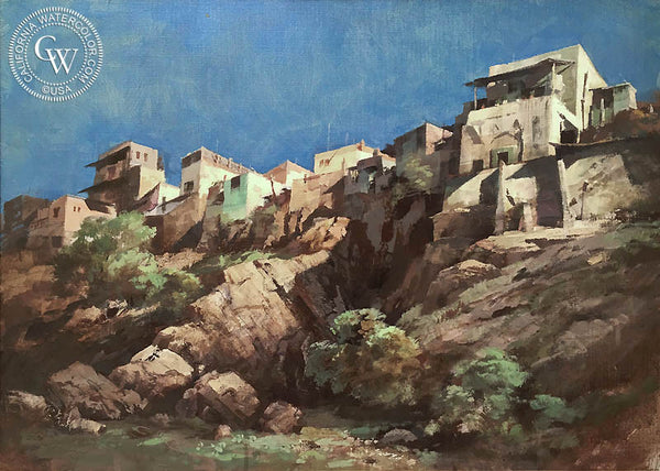 Richmond Kelsey - Cliffside Houses, an original California oil painting for sale, original California art for sale - CaliforniaWatercolor.com