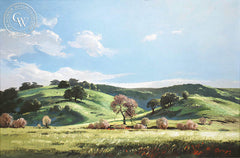 Richmond Kelsey - Green Hills, c. 1940's, an original California oil painting for sale, original California art for sale - CaliforniaWatercolor.com