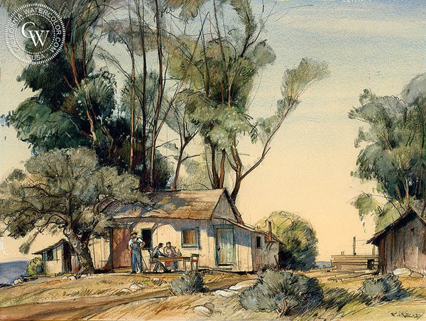Three Men at the Cabin, c. 1940, California art by Richmond Kelsey. HD giclee art prints for sale at CaliforniaWatercolor.com - original California paintings, & premium giclee prints for sale