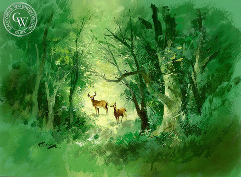 Woodland Scene, California art by Richmond Kelsey. HD giclee art prints for sale at CaliforniaWatercolor.com - original California paintings, & premium giclee prints for sale