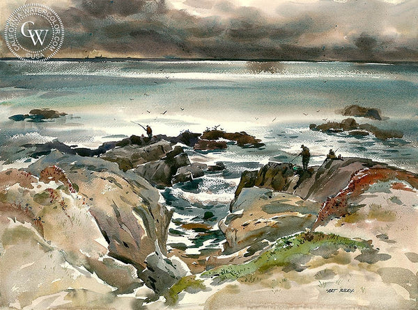 The Fishermen, California art by Art Riley. HD giclee art prints for sale at CaliforniaWatercolor.com - original California paintings, & premium giclee prints for sale