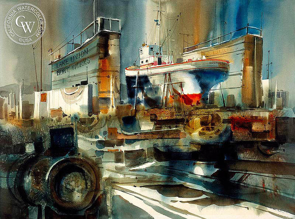 Lake Union Boat Works, c. 1950s, California art by Ritchie A. Benson. HD giclee art prints for sale at CaliforniaWatercolor.com - original California paintings, & premium giclee prints for sale