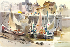 Honfleur Boats and Nets, 1973, California art by Robert E. Wood. HD giclee art prints for sale at CaliforniaWatercolor.com - original California paintings, & premium giclee prints for sale