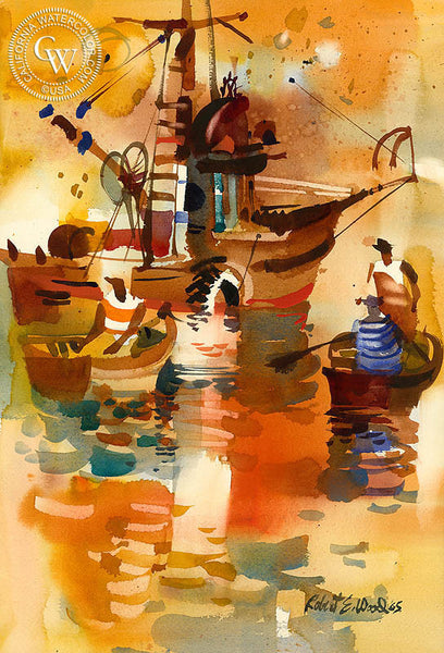 Net Dory's, 1965, California art by Robert E. Wood. HD giclee art prints for sale at CaliforniaWatercolor.com - original California paintings, & premium giclee prints for sale
